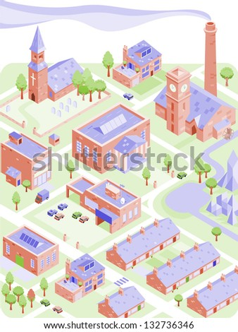 Isometric illustration of town or city with houses, factories, shops, cars and a park