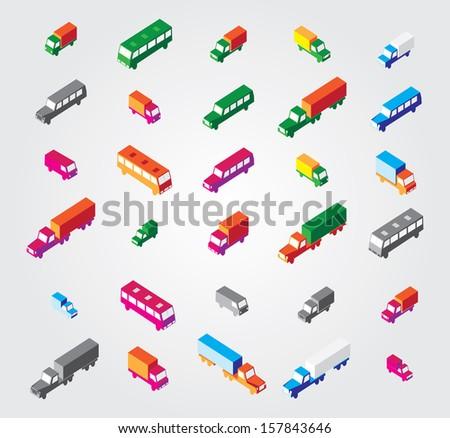 Isometric Illustration Set: transport - stock vector