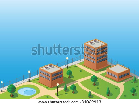 Isometric image of a fragment of the city skyline - stock vector