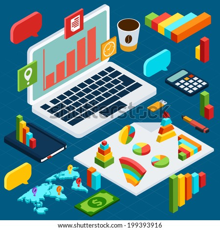 Isometric infographic data analysis business icons set with notebook and office stationery vector illustration - stock vector