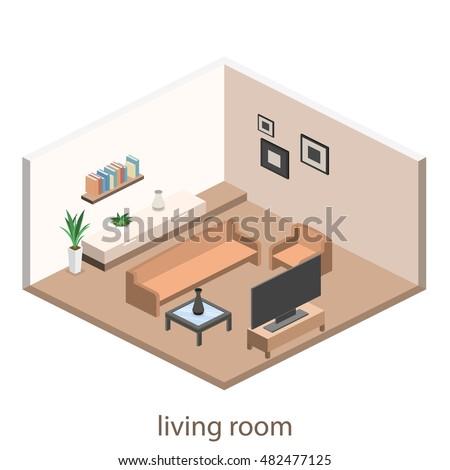 Isometric Interior Modern Living Room Flat Stock Vector