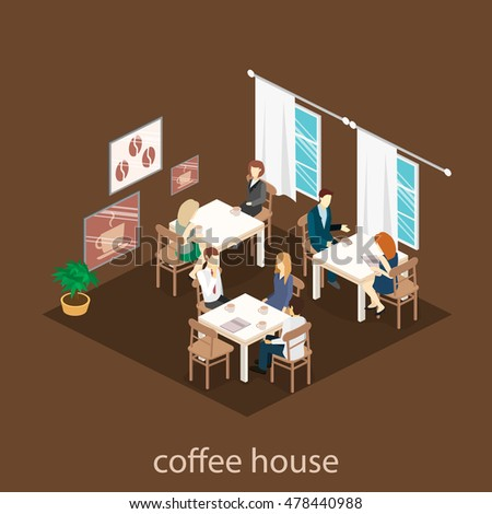 Isometric Interior Coffee Shop Flat 3d Stock Vector 478440988   Shutterstock