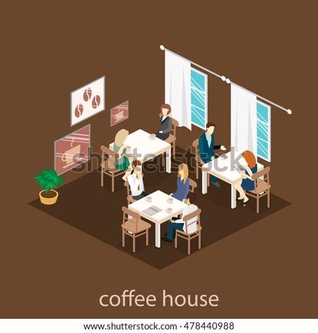 Isometric Interior Coffee Shop Flat 3d Stock Vector 478440988   Shutterstock