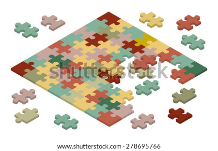 Isometric jigsaw puzzle. Illustration suitable for advertising and promotion - stock vector