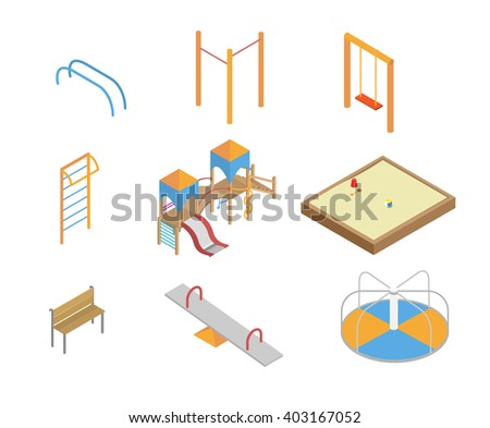 Isometric kids playground icons set. 3d children swings, slide, sandbox and other objects, vector illustration. Sports equipment. - stock vector