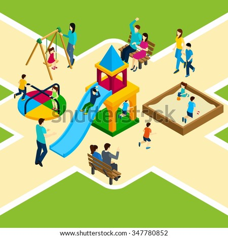 Isometric kids playground with happy families and children playing vector illustration - stock vector