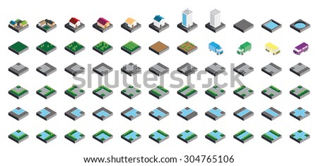 Isometric Kit of Buildings Blocks Trees and Houses - Stone Edition - stock vector