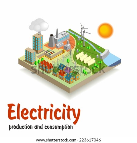 Isometric landscape. Production and consumption of electricity. - stock vector