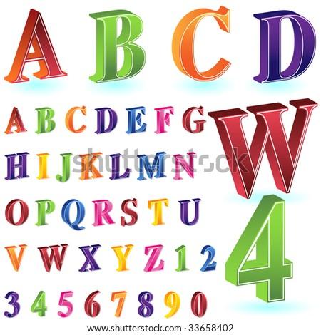 isometric letter number set white - stock vector