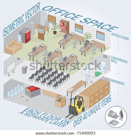 Isometric 3 level office. Each level on a separate layer. Full pack of furniture including accessories. All objects are editable. All Items are isolated and can be used as an icons. - stock vector