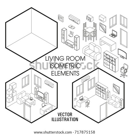 Isometric Living Room Interior Constructor Vector Stock