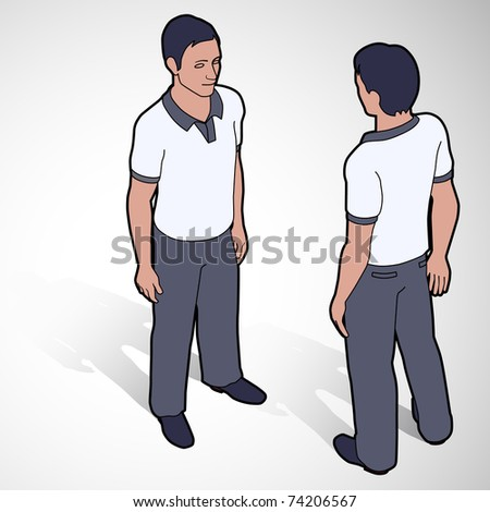 Isometric man in polo shirt front and back poses - stock vector