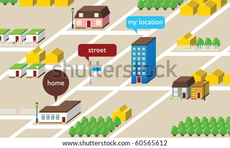 Isometric Map - stock vector
