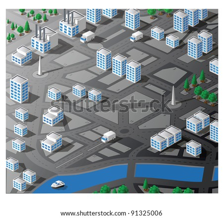 Isometric map city block with cars, streets, parks and residential apartments. Use for business, real estate agencies and construction companies. - stock vector
