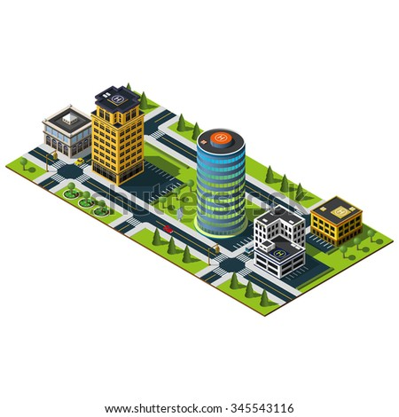 Isometric map. Crossroad and road markings illustration. Bank building icon. Office building, mall building and police department illustration.