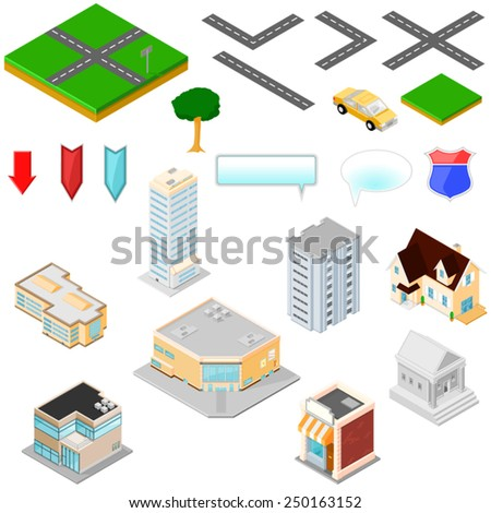 Isometric Map Icons for building   Isometric Map Icons. Map Icons Kit - stock vector