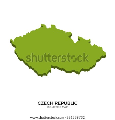 Isometric map of Czech Republic detailed vector illustration. Isolated 3D isometric country concept for infographic