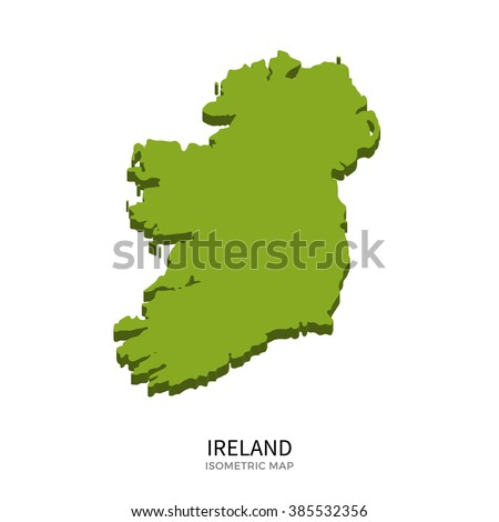 Isometric map of Ireland detailed vector illustration. Isolated 3D isometric country concept for infographic - stock vector
