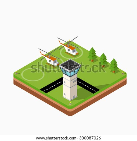 Isometric map of the airport of the city, trees and building and flying helicopters - stock vector