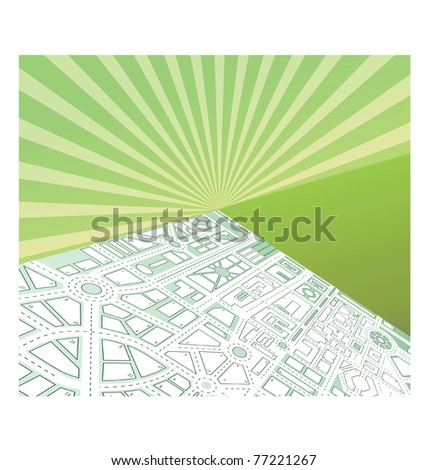 Isometric map of the city against the backdrop of the sunset