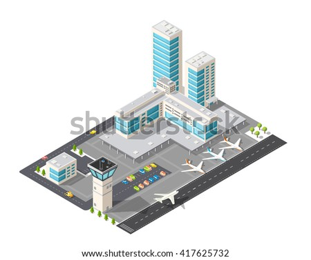 Isometric map of the city airport, the trees and the flight of construction and building, terminal, planes and cars vector illustration. - stock vector
