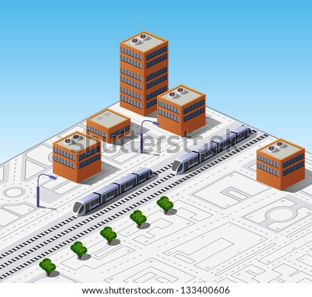 Isometric map of the city with buildings and trains - stock vector