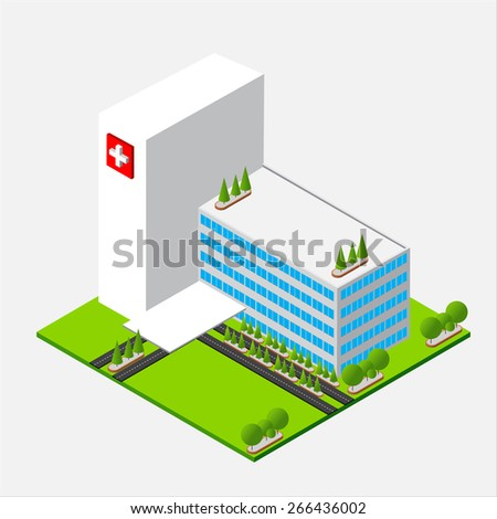 Isometric medium hospital buiding, health and medical, isolated on white background vector illustration - stock vector