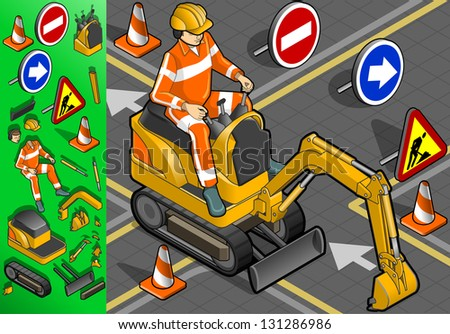 isometric mini excavator with man at work in front view - stock vector