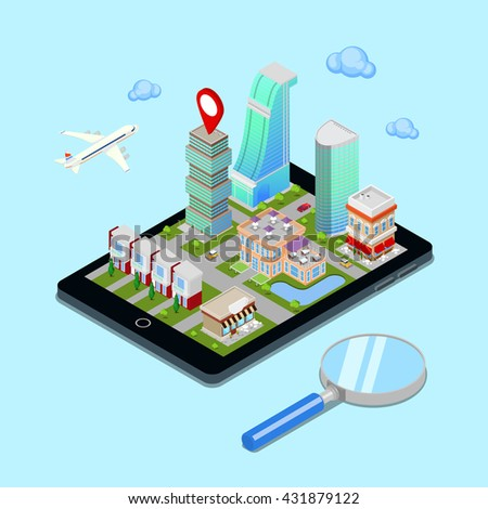 Isometric Mobile Navigation. Tourism Industry. Modern City on the Tablet Screen. Isometric City. Vector illustration