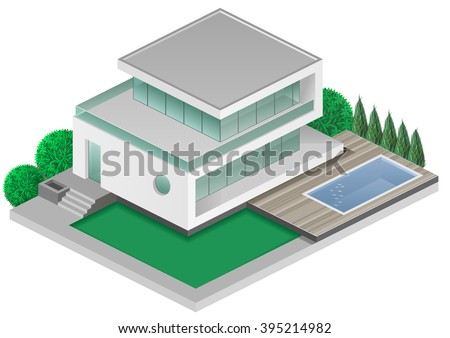 Isometric modern white villas with swimming pool in the yard