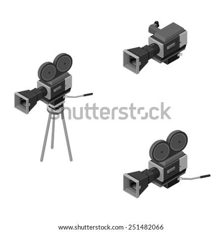 Isometric movie cameras.  - stock vector