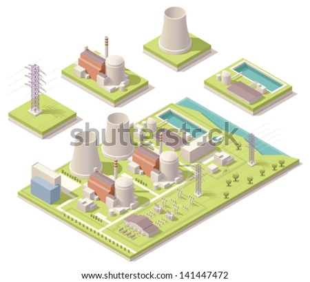 Isometric nuclear power facility - stock vector