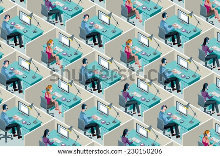 Isometric Office Cubicles. Men and women working with headset in a call center. - stock vector