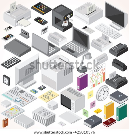 Isometric Office Equipments and Interior Items. Vector Collection. Set of Electronic Equipments, Workplace Supplies, Computers, Devices etc. - stock vector