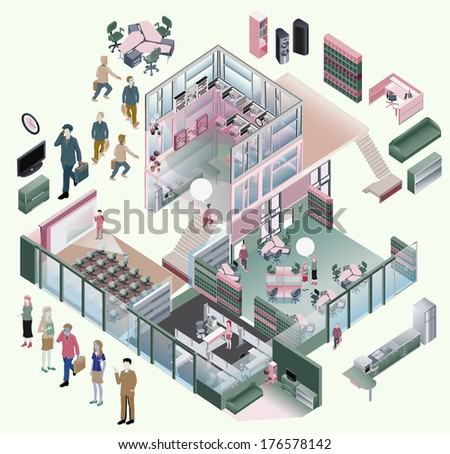 Isometric office from different departments: presentation room, meeting room, workstation space, lobby, pantry. making custom room with several elements - stock vector