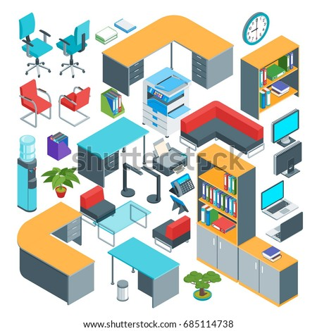 isometric office furniture vector collection. Isometric Office Furniture Icons Set. Highly Detailed Vector Illustration Collection E