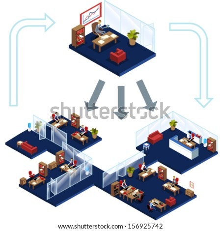 isometric office interior and people working under the same management.  Infographic about working process where manager is in the top - stock vector