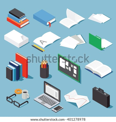 Isometric office tools set paper books stock vector 401278978 isometric office tools set paper books folder pen and pencil glasses ccuart Choice Image