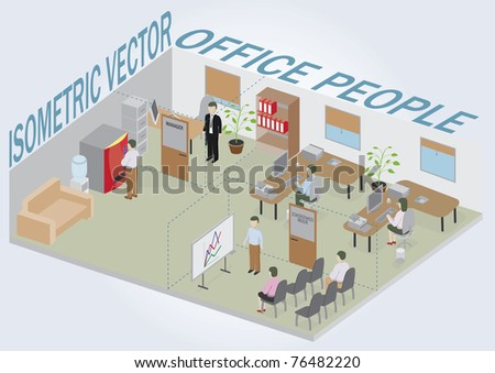 Isometric office with people. Full pack of furniture including accessories. All objects are editable. All Items are isolated and can be used as an icons. - stock vector