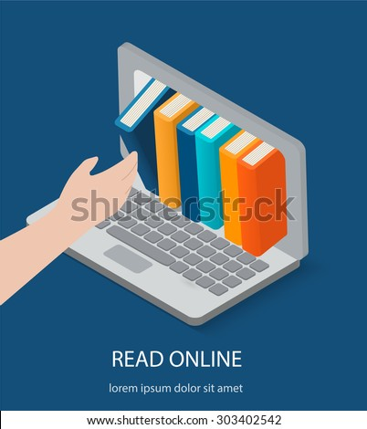 Isometric online reading, digital library concepts. Human hand chooses eBooks in the Internet books store in laptop, vector illustration - stock vector