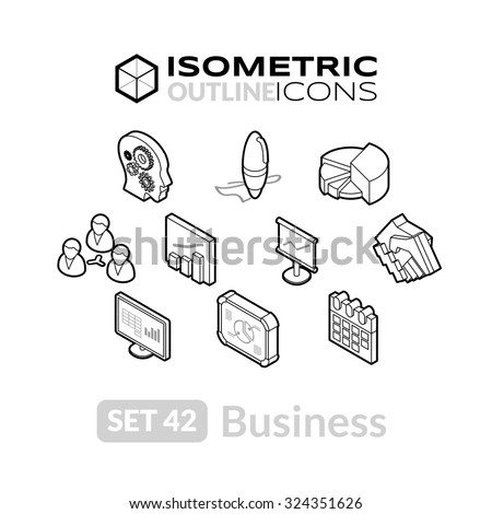 Isometric outline icons, 3D pictograms vector set 42 - Business symbol collection - stock vector