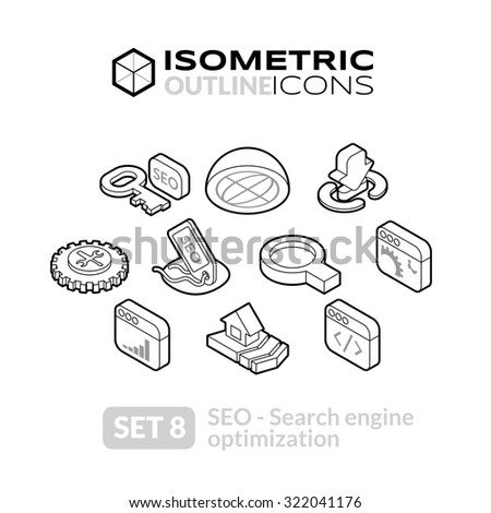 Isometric outline icons, 3D pictograms vector set 8 - Search engine optimization symbol collection - stock vector