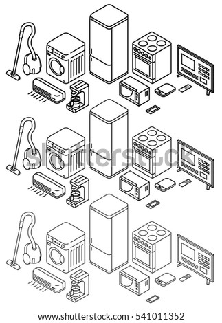 Isometric outline icons, vector set, home electronic. Thin line icons.