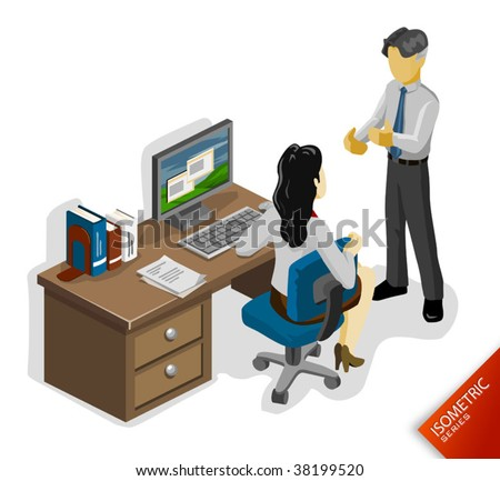 Isometric partnership white - stock vector