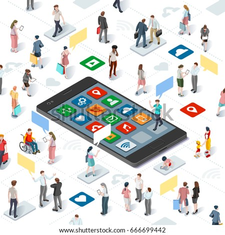 Isometric people connecting and sharing social media graphic vector template with flat elements disabled people and smartphone devices illustration.
