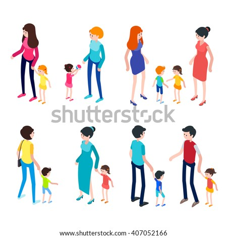 Isometric people isolated on white background. Young parents with children. Children walk and play with their parents. Set of 3d people. Vector illustration. - stock vector