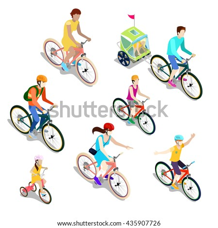 Isometric People. Isometric Bicycle. Family Cyclists. Vector illustration - stock vector