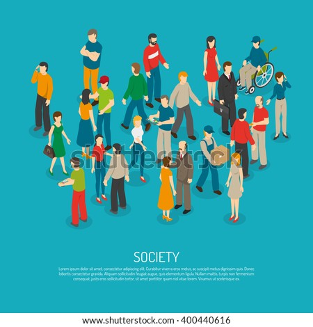 Isometric people poster with mix of different men and women in crowd on blue background vector illustration - stock vector
