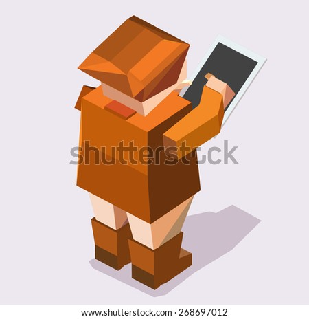 isometric peoples working with touch pad - stock vector