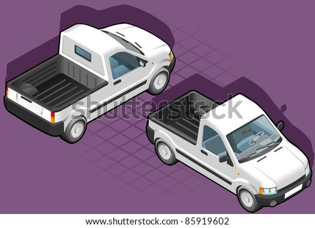 isometric pick up in two position - stock vector